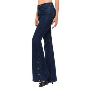 Angry Rabbit Button Hem Flare Bellbottom Jeans 27